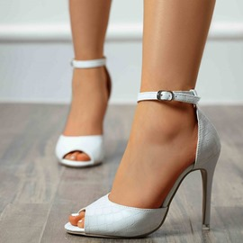 Ericdress Peep Toe Stiletto Heel Buckle Plain Women's Thin Shoes