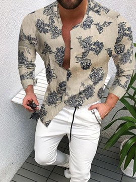 Ericdress Floral Print Single-Breasted Men's Slim Shirt