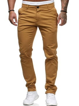 Ericdress Plain Pocket Straight Zipper Men's Casual Pants