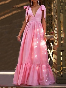 Ericdress Sleeveless Floor-Length V-Neck Fashion Maxi Dress