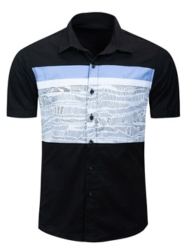 Ericdress Print Lapel Single-Breasted Short Sleeve Men's Slim Shirt