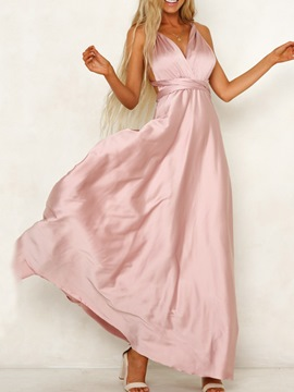 Ericdress Floor-Length Backless V-Neck Plain Fashion Maxi Dress