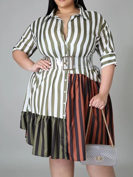 Ericdress Patchwork Three-Quarter Sleeve Knee-Length Color Block Stripe Plus Size Dress