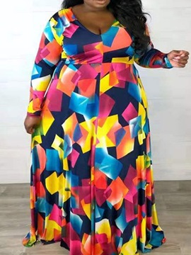 Ericdress V-Neck Patchwork Floor-Length Fall Color Block Maxi Dress