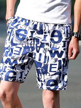 Ericdress Thin Print Straight Mid Waist Men's Casual Shorts