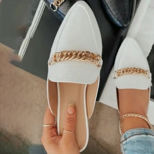 Ericdress Flat With Chain Closed Toe Women's Slippers
