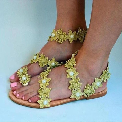 Ericdress Round Toe Flat With Slip-On Sweet Women's Sandals