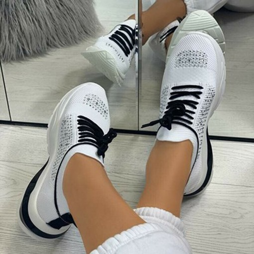 Ericdress Round Toe Lace-Up Low-Cut Upper Flat With Sneakers