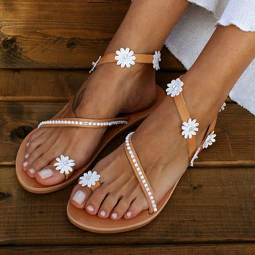 Ericdress Flat With Toe Ring Slip-On Women's Floral Sandals