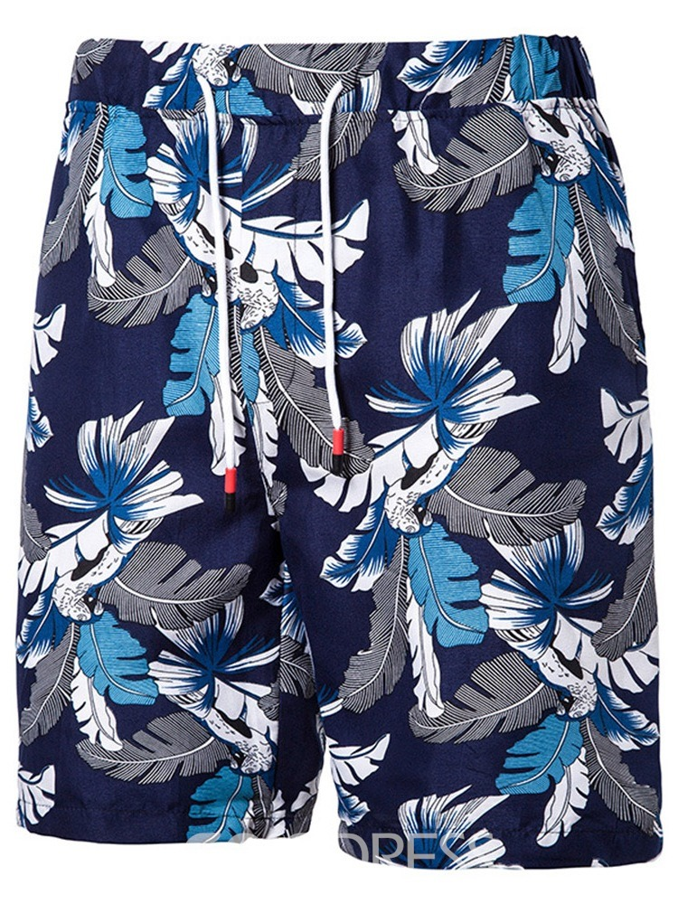 Ericdress Print Plant Casual Lace-Up Men's Casual Shorts
