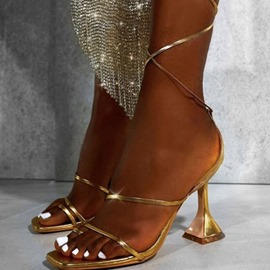 Ericdress Lace-Up Square Toe Low-Cut Upper Women's Sandals