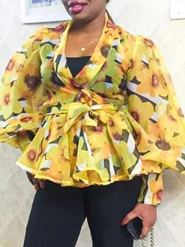 Ericdress Lace-Up Floral Standard Long Sleeve Women's Blouse