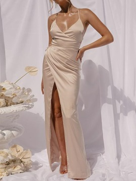 Ericdress Sleeveless V-Neck Floor-Length Strap Dress