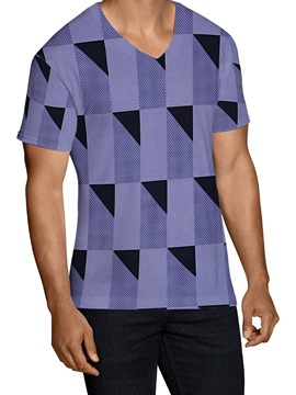 Ericdress Geometric Print V-Neck Slim Pullover Men's T-shirt