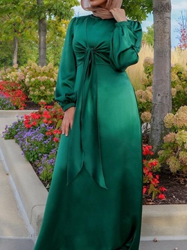 Ericdress Lace-Up Floor-Length Long Sleeve A-Line Pullover Dress