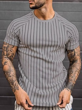 Ericdress Round Neck Casual Stripe Pullover Short Sleeve Men's T-shirt