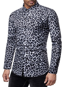 Ericdress Casual Print Leopard Single-Breasted Men's Shirt