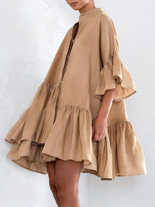 Ericdress Pleated Stand Collar Above Knee Expansion Modern Dress
