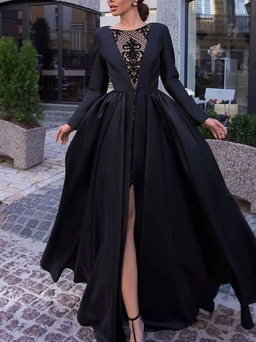 Ericdress Round Neck See-Through Floor-Length Pullover Expansion Dress