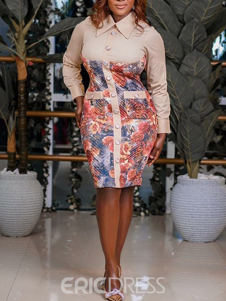 Ericdress Lapel Knee-Length Print Single-Breasted Bodycon Plus Size Dress