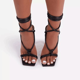 Ericdress Square Toe Spool Heel Lace-Up Cross Strap Women's Sandals