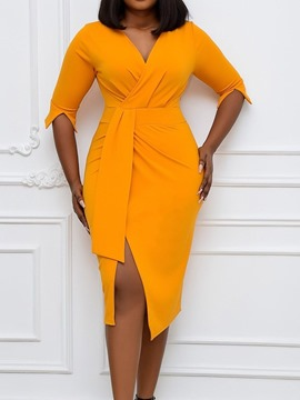Ericdress Mid-Calf Three-Quarter Sleeve Split Bodycon Plain Dress