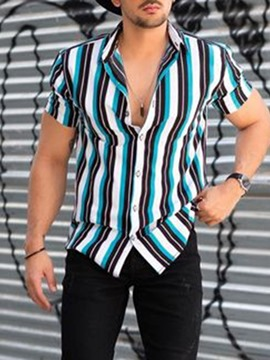 Ericdress Stripe Print European Loose Single-Breasted Men's Shirt