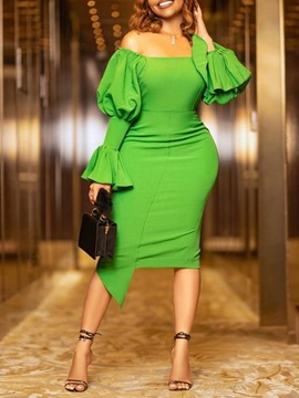 Ericdress Off Shoulder Long Sleeve Mid-Calf Pullover Dress