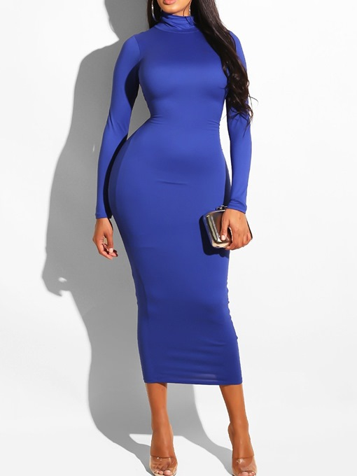 Ericdress Long Sleeve Turtleneck Mid-Calf Plain Bodycon Dresses