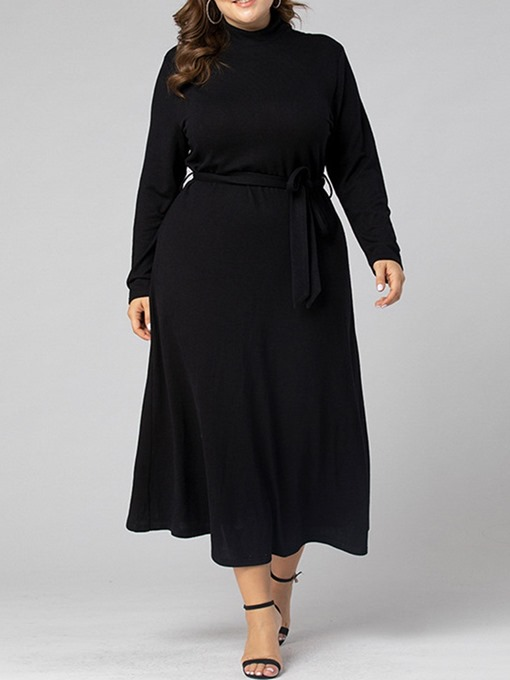 Ericdress Mid-Calf Lace-Up Long Sleeve A-Line Maxi Dress