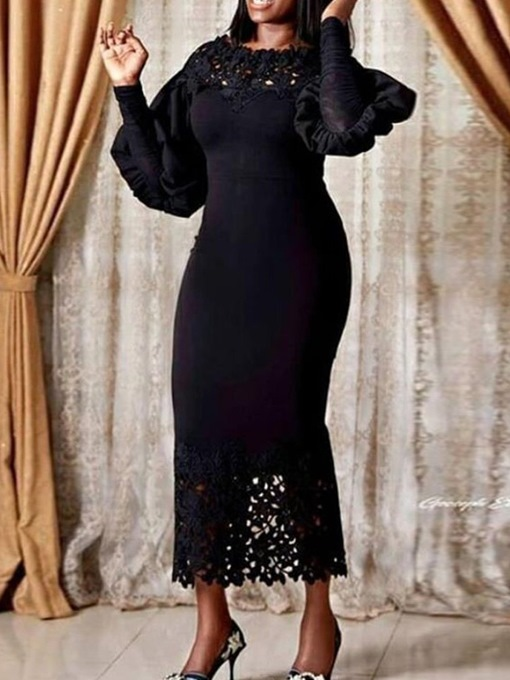 Ericdress Hollow Mid-Calf Long Sleeve Bodycon Maxi Lace Dress