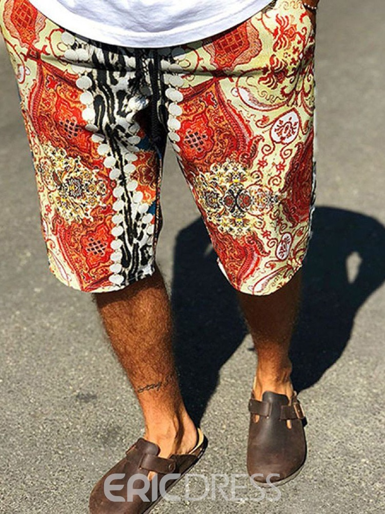Ericdress Floral Print Slim Lace-Up Men's Casual Shorts