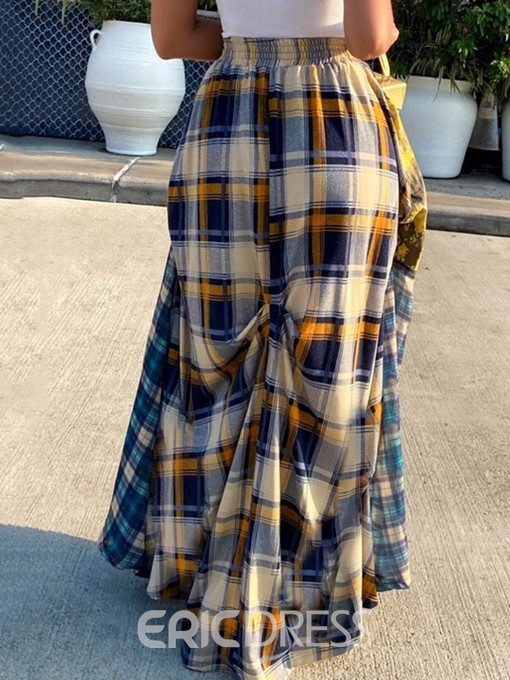 Ericdress Print Ankle-Length Expansion Stitching Printing Grid Casual Skirt