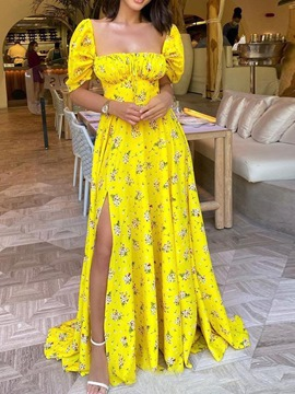 Ericdress Floor-Length Half Sleeve Print Floral Expansion Dress