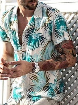 Ericdress Plant Print Casual Single-Breasted Men's Shirt