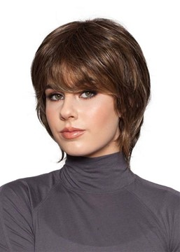 Natural Looking Women's Short Bob Hairstyles Straight Synthetic Hair Capless Wigs 8Inch