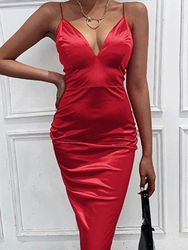 Ericdress Mid-Calf V-Neck Sleeveless Plain Fashion Bodycon Dresses