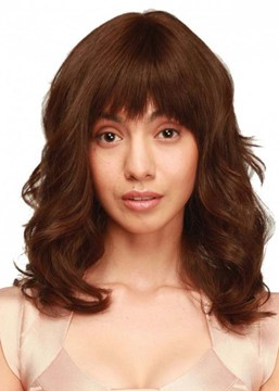 Ericdress Women's Medium Layered Hairstyles Wavy Synthetic Hair Capless Wigs With Bangs 22Inch
