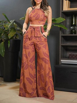 Ericdress Office Lady Floral Pants Wide Legs Pullover Women's Two Piece Sets
