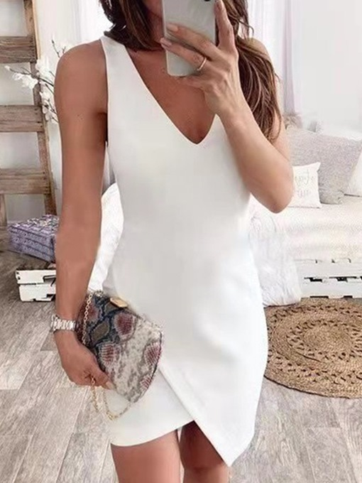 Ericdress V-Neck Sleeveless Above Knee Asymmetrical Plain Bodycon Dresses