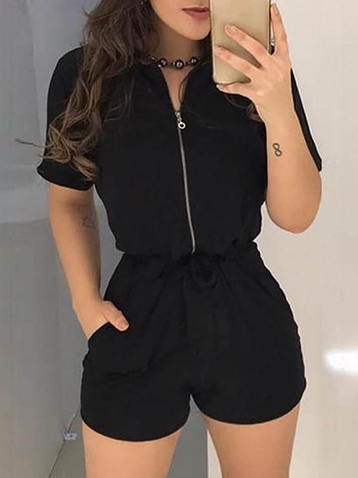 Ericdress Office Lady Shorts Plain Straight Women's Slim Rompers