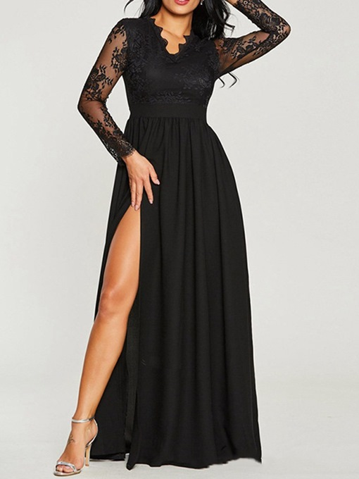 Ericdress Lace Long Sleeve Floor-Length A-Line Plain Maxi Dress