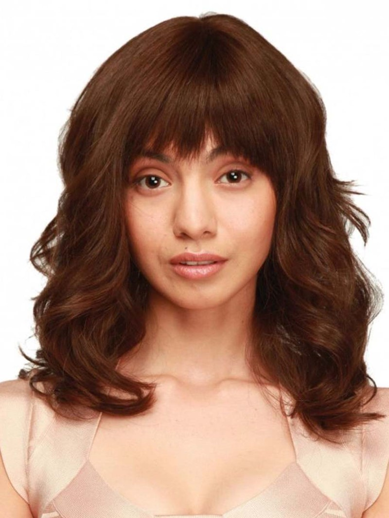 Ericdress Women′s Medium Layered Hairstyles Wavy Synthetic Hair Capless Wigs With Bangs 22Inch
