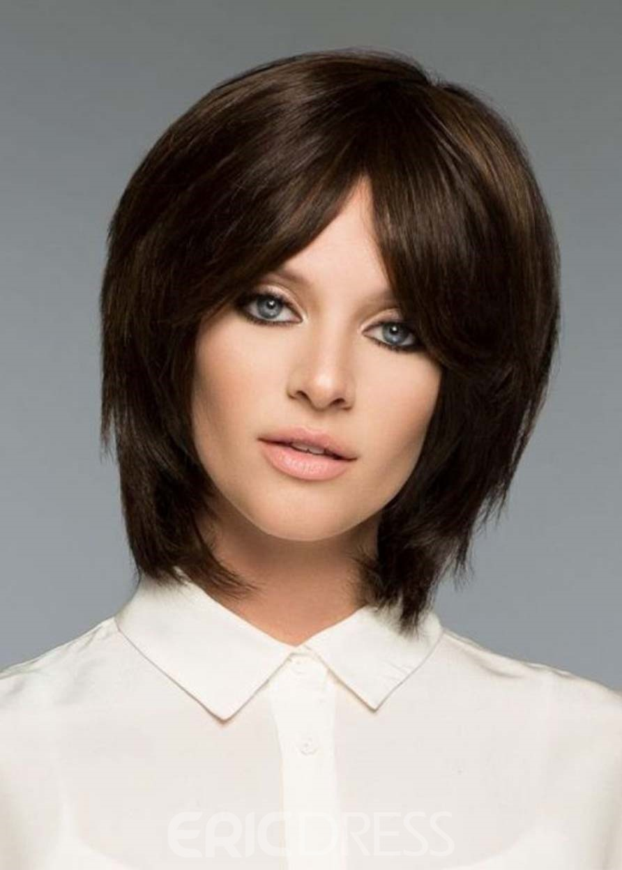 Ericdress Women's Short Shaggy Hairstyles Natural Straight Synthetic Hair Capless Wigs 12Inch