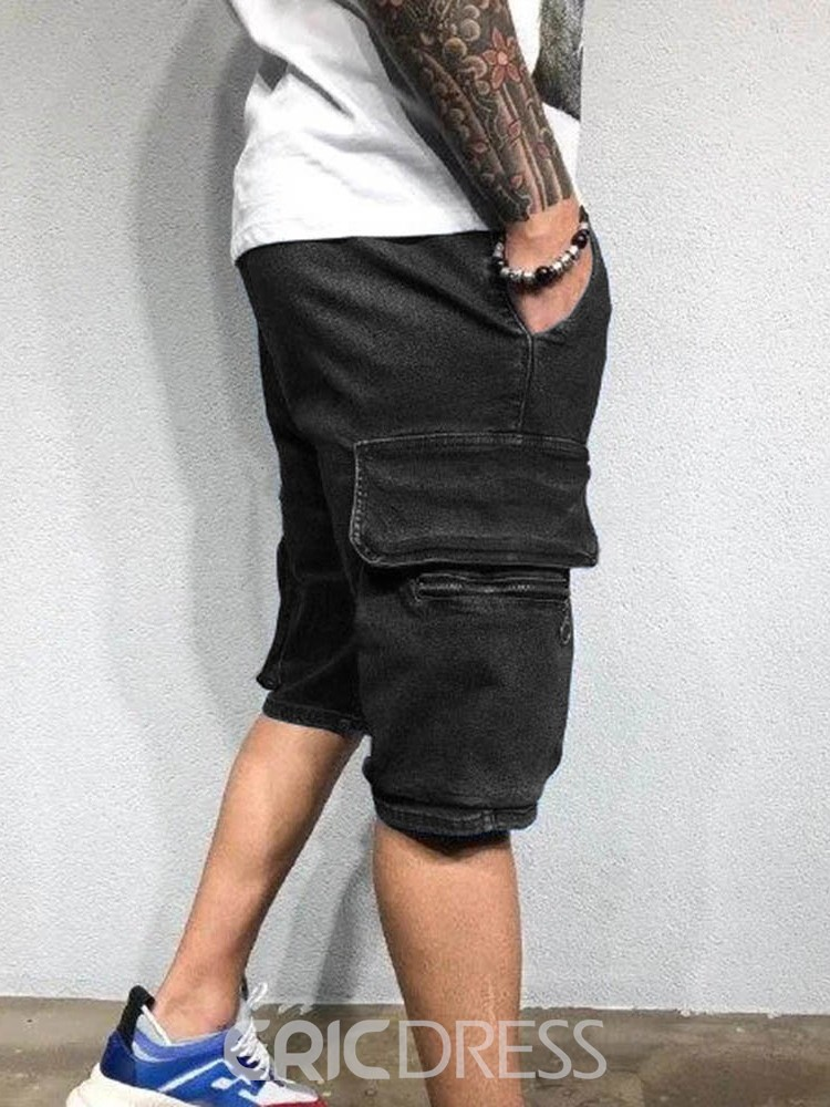 Ericdress Straight Pocket Lace-Up Men's Casual Shorts