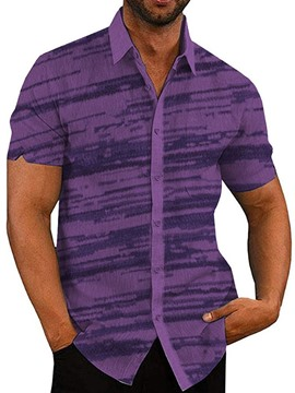 Ericdress Purple Print Lapel Single-Breasted Men's Casual Shirt