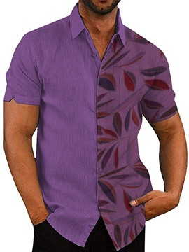 Ericdress Lapel Purple Print Single-Breasted Men's Slim Shirt