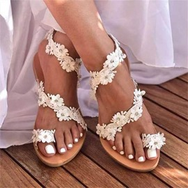 Ericdress Thong Slip-On Flat With Appliques Women's Sandals