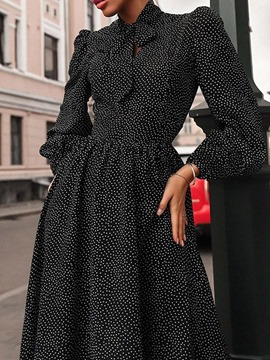 Ericdress Long Sleeve Patchwork Mid-Calf Expansion Midi Dress