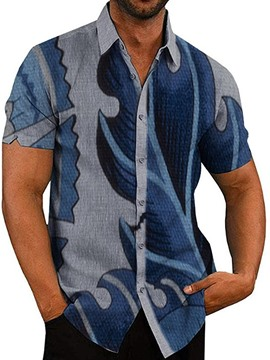 Ericdress Lapel Blue Print Men's Slim Shirt